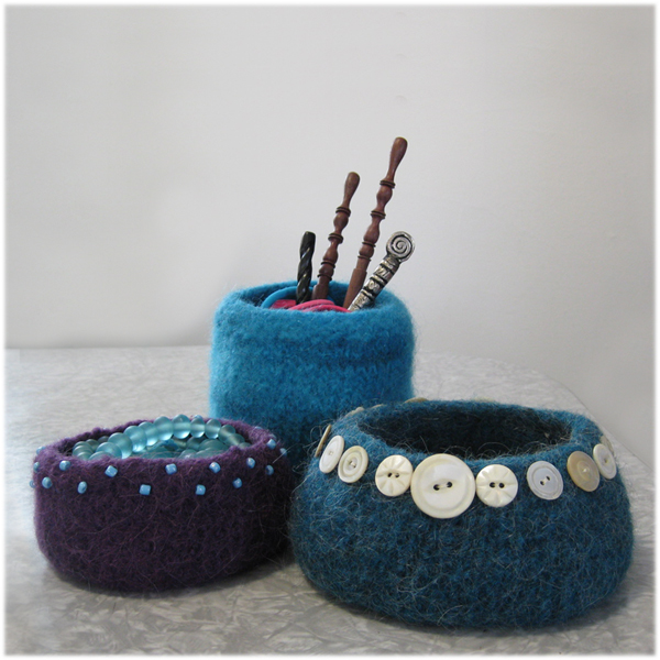 Buttons & Beads Bowls (felted) by LynnH